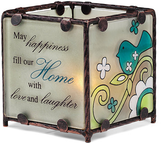 "Home by Perfectly Paisley - 3"" x 3"" Glass Candle Holder"