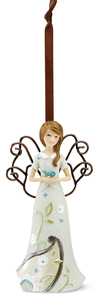"Peace Ornament by Perfectly Paisley - 4.5"" Angel w/ Dove Orn."