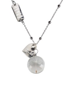"Aunt by Dandelion Wishes - 29"" Sweater Necklace with Glass Wish Pendant"