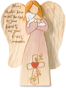 "First Communion by Heavenly Woods - 5"" Angel Holding Lamb"