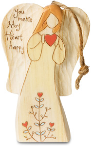 "Love  by Heavenly Woods - 4.5"" Angel Ornament Holding Heart"