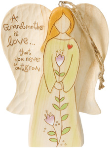 "Grandmother by Heavenly Woods - 4.5"" Angel Ornament Holding Flower"