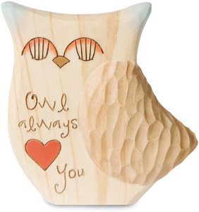 "Owl Always Love You by Heavenly Woods - 3.5"" Painted Owl Figurine/Carving"