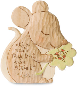 "Little Bit O' Luck by Heavenly Woods - 3.5"" Painted Mouse Figurine/Carving"