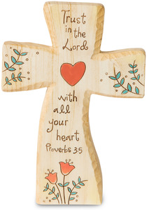 "Trust in the Lord by Heavenly Woods - 5"" Self-Standing Cross Carving"