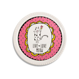 "Live Love Meow by It's Cats and Dogs - 3.75"" Coaster Cap"