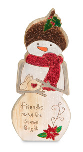 "Friends by Heavenly Winter Woods - 6"" Snowman & Bunny Figurine/Carving"