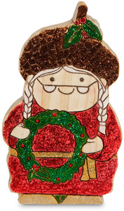 "Happy Holidays by Heavenly Winter Woods - 4.5"" Mrs. Claus Gnome holding Wreath Figurine"