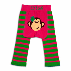 Pink and Green Monkey by Izzy & Owie - 12-24 Month Baby Leggings