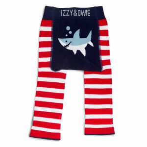 Red and Navy Shark by Izzy & Owie - 6-12 Months Baby Leggings