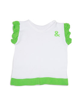 Lime Green and White by Izzy & Owie - 6-12 Months Ruffle T-Shirt
