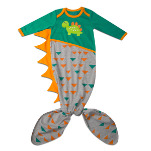 Teal and Gray Dino by Izzy & Owie - 0-9 Months Knotted Onesie