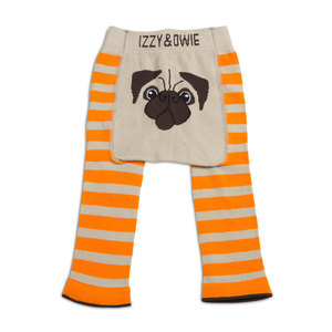 Orange Pug by Izzy & Owie - 6-12 Months Baby Leggings
