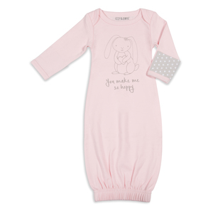 Soft Pink Bunny by Izzy & Owie - 0-3 Months Gown with Mitten Cuffs