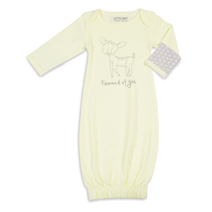 Soft Yellow Deer by Izzy & Owie - 0-3 Months Gown with Mitten Cuffs