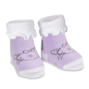 Soft Lavender Kitty by Izzy & Owie - 0-3 Months Socks