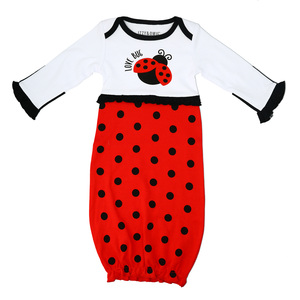 Spotted Ladybug by Izzy & Owie - 0-3 Months Gown with Mitten Cuffs