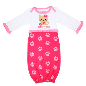 Pawprint Kitty by Izzy & Owie - 0-3 Months Gown with Mitten Cuffs