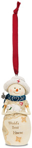 "Nurse by The Birchhearts - 4"" Snowwoman Holding a Bunny Ornament"