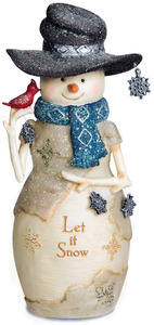 "Let it Snow by The Birchhearts - 6"" Snowman Holding Snowflakes and Cardinal"