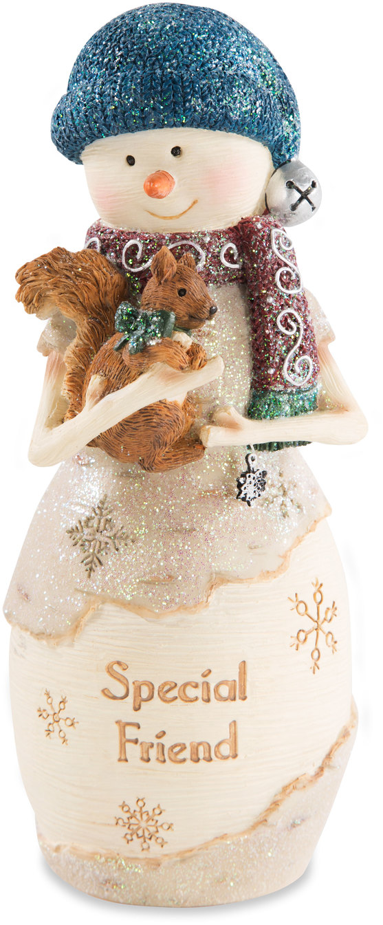 "Friend by The Birchhearts - Friend - 6"" Snowman Holding Squirrel"