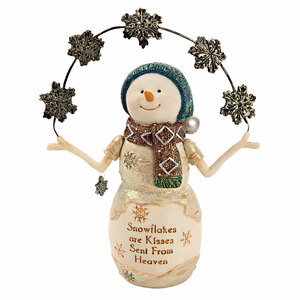 "Snowflakes by The Birchhearts - 6"" Snowman with Snowflakes"