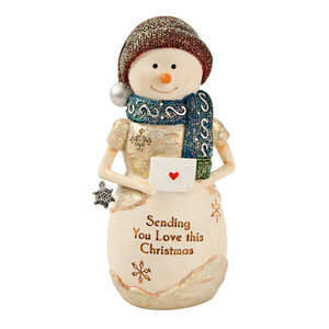 "Sending Love by The Birchhearts - 4.5"" Snowman Holding a Letter"