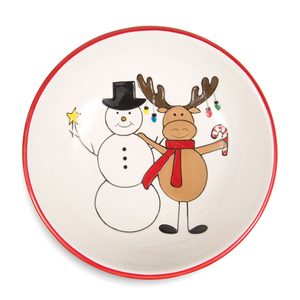 "Snowman with Moose by Holiday Hoopla - 6.5"" Bowl"