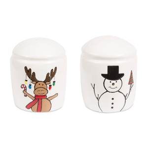 "Snowman with Moose by Holiday Hoopla - 3"" Salt & Pepper Shakers"