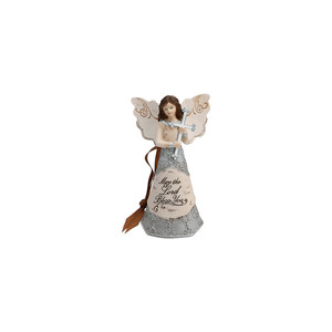 "Bless You by Elements - 4.5"" Angel Holding Cross Ornament"