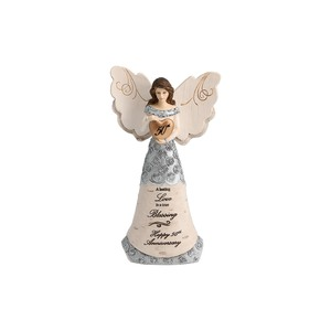 "50th Anniversary by Elements - 6"" Angel Holding 50th Heart"