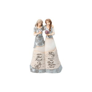 "Best Friends by Elements - 6"" Double Figurine Holding Flowers"