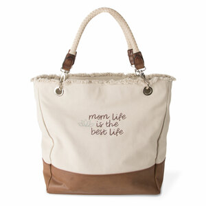 "Best Life by Mom Life - 18"" x 15"" x 6.75"" Large Canvas Tote Bag"