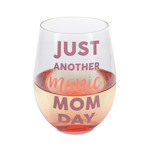 Manic Mom Day by Mom Life - 18 oz Stemless Wine Glass