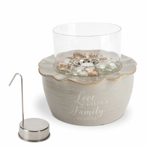 "Family by Love Lives Here - 8.25"" x 7"" Ceramic Firepot with Glass Shade"