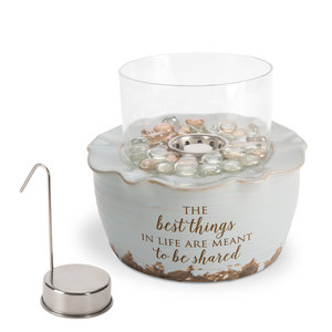 "Best Things by Love Lives Here - 8.25"" x 7"" Ceramic Firepot with Glass Shade"