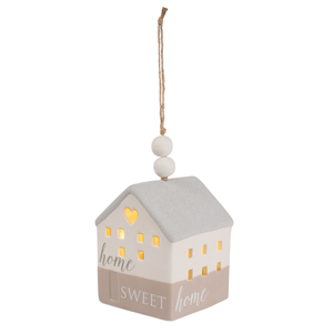"Home by Love Lives Here - 4.25"" LED Lit Hanging Porcelain House"