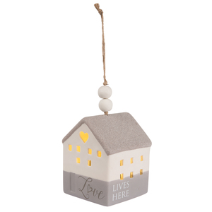 "Love by Love Lives Here - 4.25"" LED Lit Hanging Porcelain House"