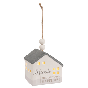 "Friends by Love Lives Here - 3.75"" LED Lit Hanging Porcelain House"