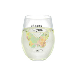 Mom by Celebrating You - 18 oz Stemless Wine Glass