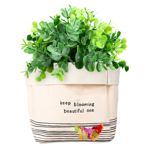 "Bloom by Celebrating You - Canvas Planter Cover (Holds a 4"" Pot)"