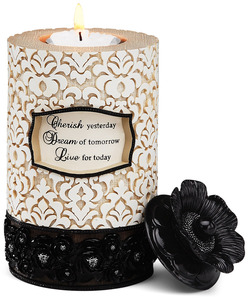 "Cherish, Dream, Live by Modeles - 6"" Cylinder Candle Holder"