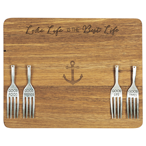 "Lake Life by Hostess with the Mostess - 9"" Acacia Cheese/Bread Board Set"
