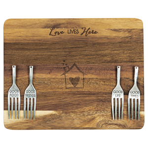"Love Lives Here by Hostess with the Mostess - 9"" Acacia Cheese/Bread Board Set"