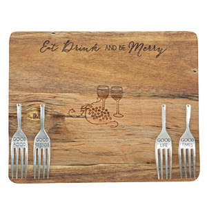 "Eat and Drink by Hostess with the Mostess - 9"" Acacia Cheese/Bread Board Set"