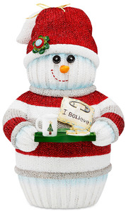 "I Believe by The Sockings - 7"" Snowman Holding Cookie Tray"