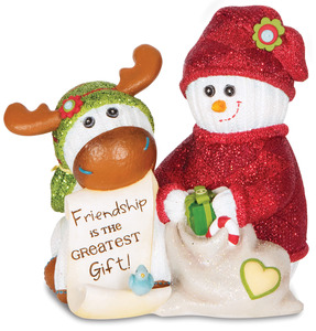 "Friendship by The Sockings - 4"" Snowman with Moose"