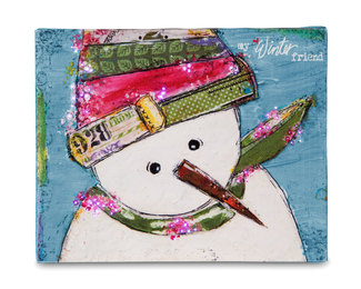 "Winter Friend by Light Hearts - 10"" x 8"" Fiber Optic Lit Canvas Plaque"