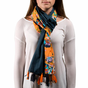 "Sheena Flower Cotton Scarf by H2Z - Destination Bags and Scarves - 20""x71"" Navy Scarf"
