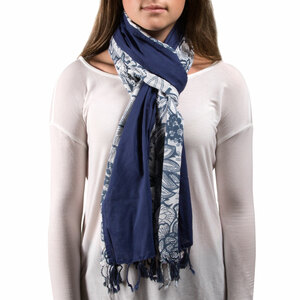 "Serene Flower Cotton Scarf by H2Z - Destination Bags and Scarves - 20""x71"" Navy Scarf"